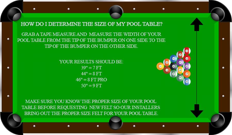 measure pool table